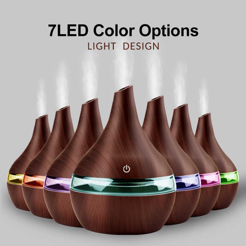 300ML USB Điện Máy Phun Sương Tạo Độ Ẩm Tinh Tinh Dầu Khuếch Tán Tinh Dầu Siêu Âm Thanh Vân Gỗ Máy Tạo Độ Ẩm Không Khí USB Mini Phun Sương Tạo Đèn LED