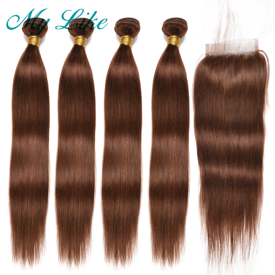 My Like Peruvian Hair Bundles With Closure Color #4 Light Brown Non Remy Straight Human Hair Weave 4 Bundles With Lace Closure