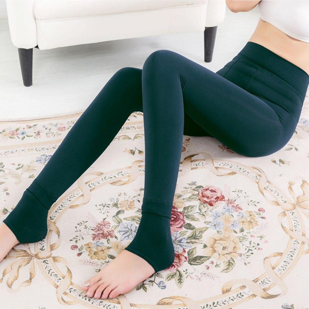 Women's Winter Warm Leggings Ankle-Length Solid Pants High Waist Pants Plus Velvet Thickening Leggings