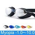 Очки для плавания при близорукости по рецепту-1,0 ~-10, водонепроницаемые противотуманные плавательные очки, силиконовые очки для дайвинга с д...
