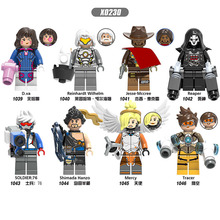 D.Va Reinhardt Wilhelm Jesse.Mccree Reaper Shimada Hanzo Mercy Soldier76 Figures Action Building Blocks Toys For Children X0230