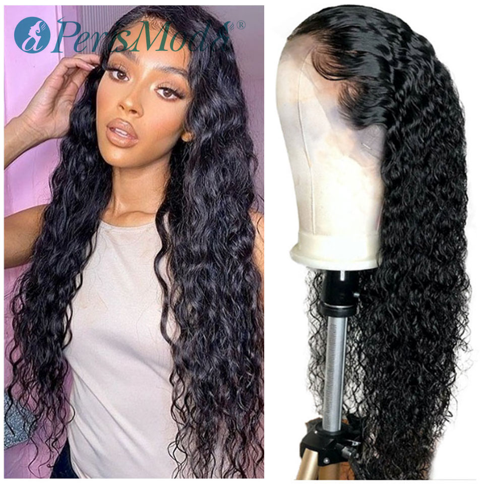 Black Long Curly Lace Wig With Baby Hair For Women PerisModa Long Curly Hair Synthetic Lace Front Wigs Heat Resistant Fiber Wigs