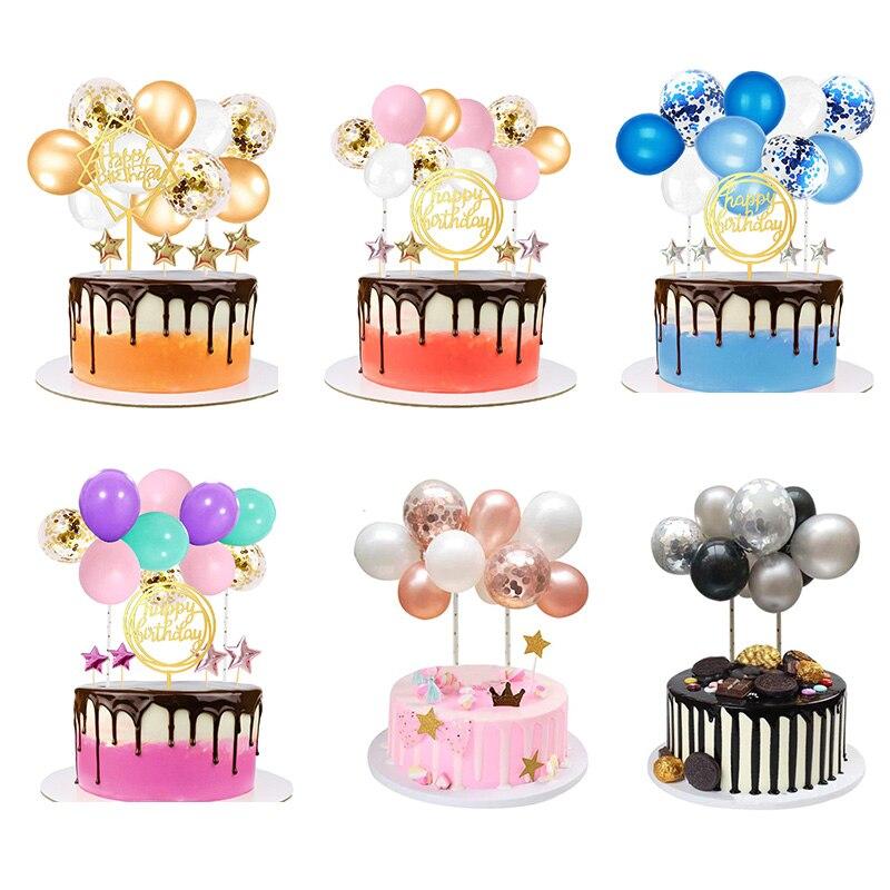 10 pçs 5 Polegada balão nuvem bolo topper rosa ouro confetes látex balões chá de panela do bebê festa de aniversário cupcake decoração