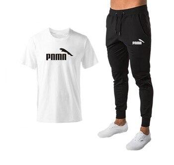 Cotton Mens Sports Suits Brand Clothing Men's Fashion T-shirts + Men's Trousers Pants Workout Suits Tracksuit Casual Sport Suit