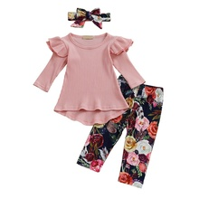 Spring Autumn Baby Girls Clothes Casual Long Sleeve Top Flower Printing Trousers And Headband Kids 3PCS Outfit Set #p