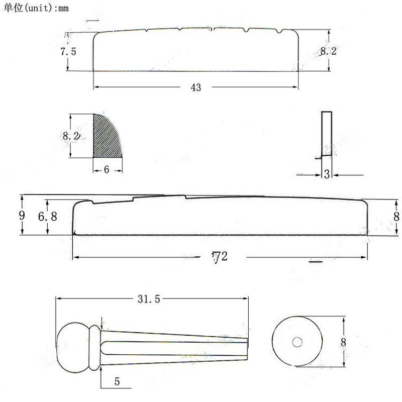 Prijenosni klinovi za mostove sa 6 žica, sedlasta matica, akustična - Glazbeni instrumenti - Foto 6