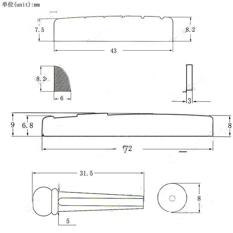 Pin jambatan gitar 6-tali mudah alih aksesori gitar plastik ekor - Alat muzik - Foto 6