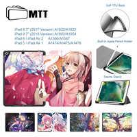 MTT dziewczyna anime etui do ipada 9.7 cala 2018 TPU miękki tył skórzany składany inteligenty futerał na iPad Air 1 Air 2 pokrowiec na tableta pojemnik na ołówki