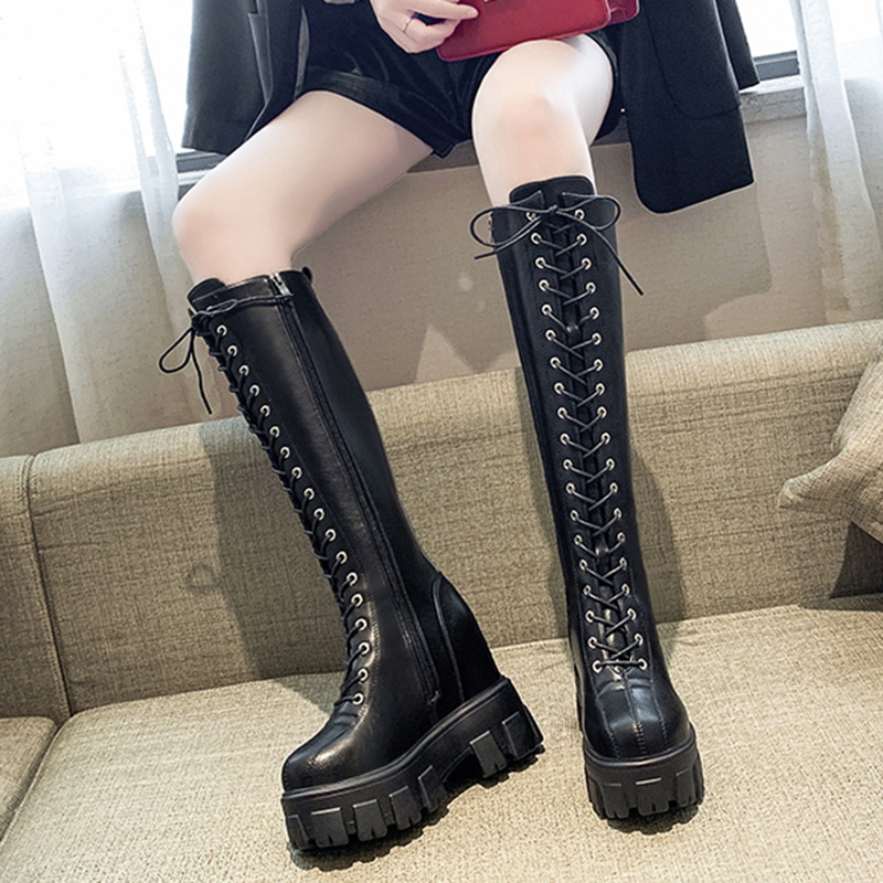 Rimocy chunky platform pu Leather Knee High Boots Women Retro Punk Height Increasing long boots Woman Lace Up Booties Mujer 2020