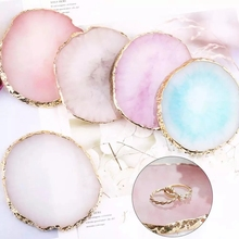 Resin Storage Plate Painted Palette Marble Tray Jewelry Display Board Necklace Ring Earrings Trays Holder Golden Rim Dish Decor