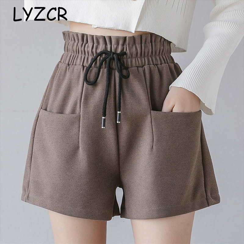Women Winter High Waist Shorts Loose Women's Shorts Winter Thick Plus Size Shorts For Women Pocket Warm Shorts Black