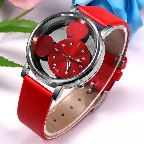 Relogio Feminino Luxo 2019 Ladies Watch With Crystals Clocks Women Luxury Quartz With Leather cute Mouse Kad N Saatleri New 3# Karachi