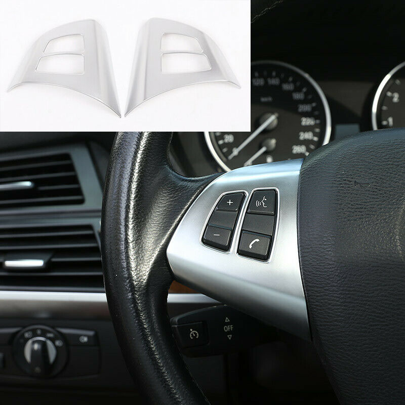 Auto Car Interior Steering Wheel Trim Car Button Matte Silver ABS Decorative Frame For BMW X5 E70 2008 2009 2010 2011 2012 2013-in Interior Mouldings from Automobiles & Motorcycles