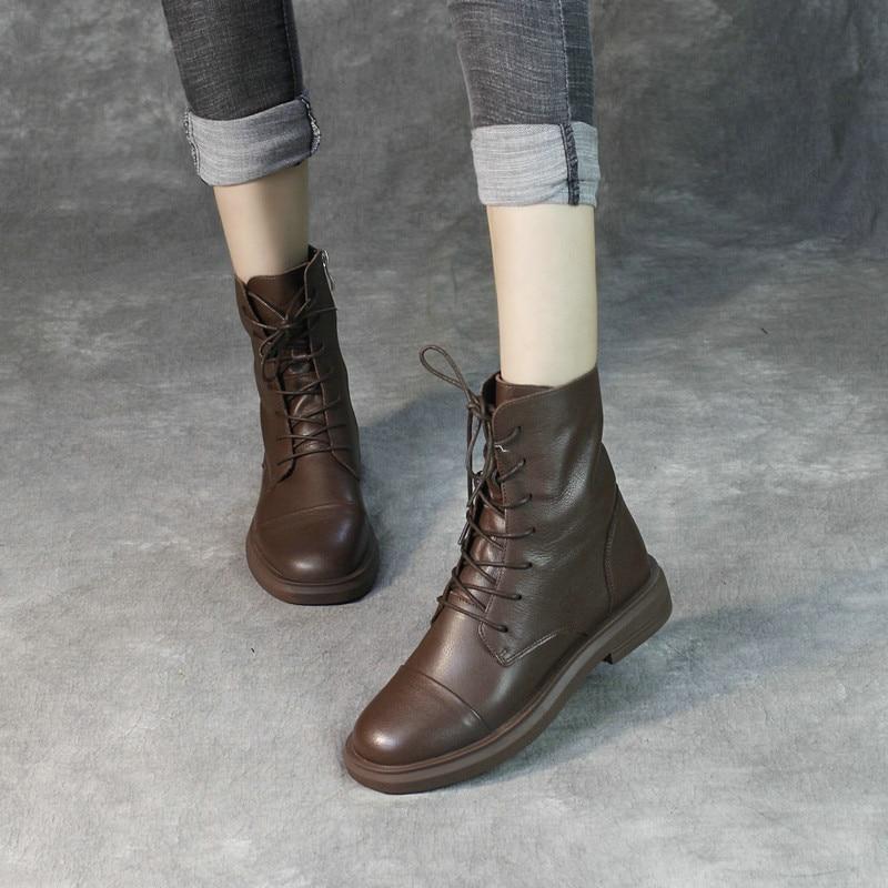 Женские ботинки martin из натуральной кожи; повседневная обувь черного цвета; зимние Брендовые женские кожаные ботинки в байкерском стиле; коллекция 2019 года; мягкие ботильоны на низком каблуке - 6