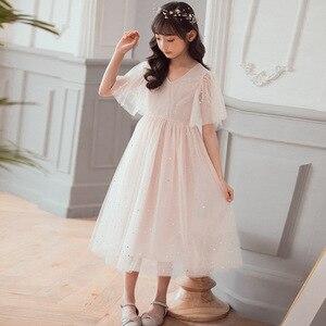 Image 5 - Yeni 2020 yaz örgü çocuk kız elbise çocuk dantel elbise kızlar için bebek prenses elbise yıldız çocuk sevimli elbise düğün, #8011