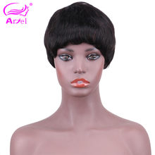Short Straight Wig Peruvian Remy None Lace Front Human Hair Wigs For Black Women Full Wig Cheap Wholesale Hair Wigs With Bangs(China)