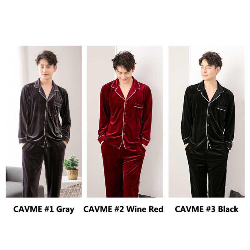 CAVME Männlichen Pyjama Sets Winter Velours Nachtwäsche Volle Hülse Pyama Sets 2 Stück Einfarbig PLUS GRÖßE