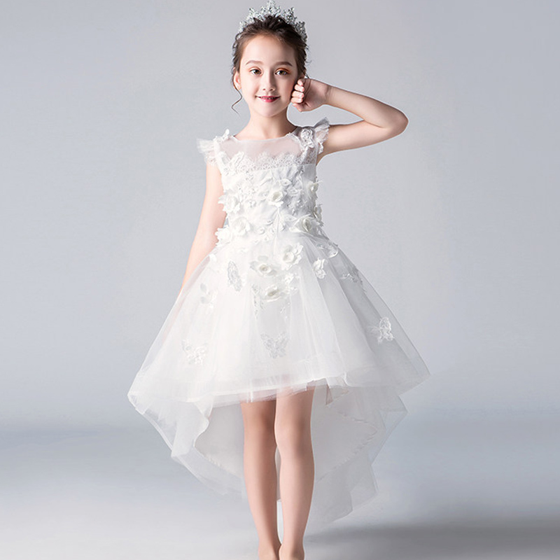 Flower Girl Romantic Wedding Banquet White Petal Dress Girl Princess Birthday Banquet Evenin Piano Performance Party Dress