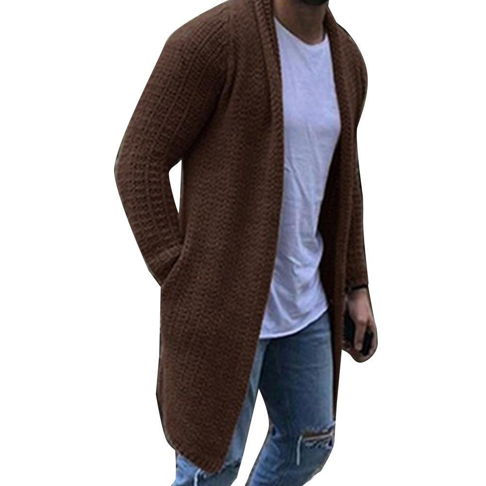 2019 Autumn Winter New Men's Long Sweater Coat Solid Color Long Sleeve  Sweater Coat Outerwear Men Casual Sweater Cardigan