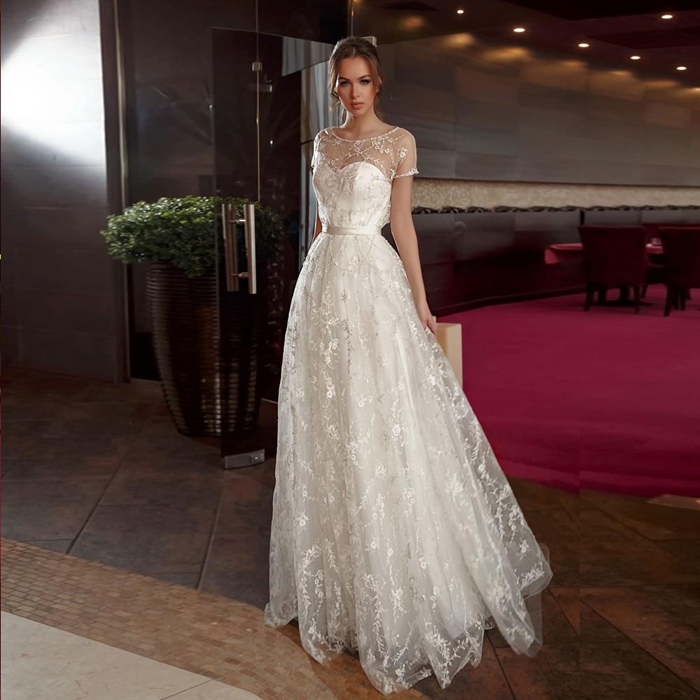 New Arrivals Short Sleeve Pearls Lace Wedding Gowns Vestido De Noiva Renda O-neck Floor Length Bridal Dresses Abiti Da Sposa