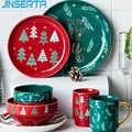 JINSERTA Christmas Tree Ceramic Dinner Plate Dish Bowl Tableware Western Food Steak Sushi Plate Dessert Fruit Salad Decor Tray