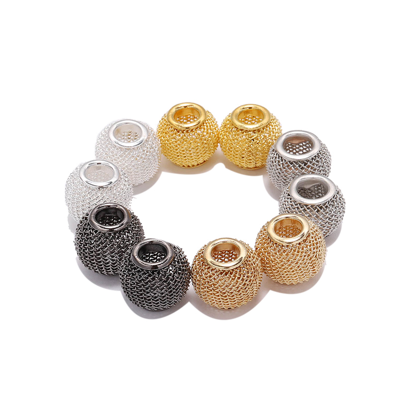 100pcs Filigree Round Spacer Beads Charms Findings Silver Gold 6//8mm for Crafts