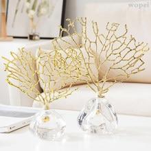 Crystal coral desktop decoration, creative sculpture crafts, modern coral statues, living room decoration, table furniture.