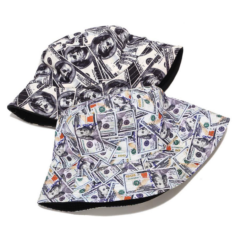 Cotton Double Sided Creative Dollar Graffiti Bucket Hat Fisherman Hat Outdoor Travel Hat Sun Cap Hats For Women