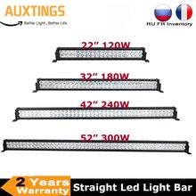 22 32 42 52 polegada led barra de luz trabalho 120w 180 240 300 condução offroad lâmpada combo 4x4 suv atv caminhão barco carro