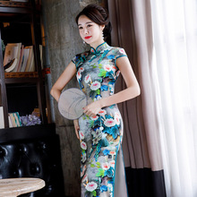 2020 년 여름 새로운 인쇄 실크 Cheongsam 긴 높은 통풍구 실크 연회 복고풍 드레스와 짧은 소매