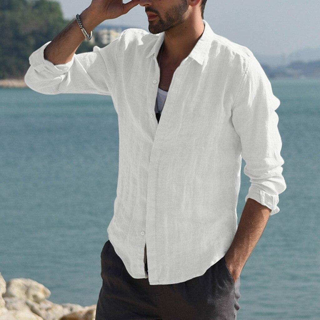 Men Shirt Baggy Cotton Blend Pocket Solid Long Sleeve Retro Tops Blouse 2XL Hawaiian Shirt Camisa Masculina Chemise Homme