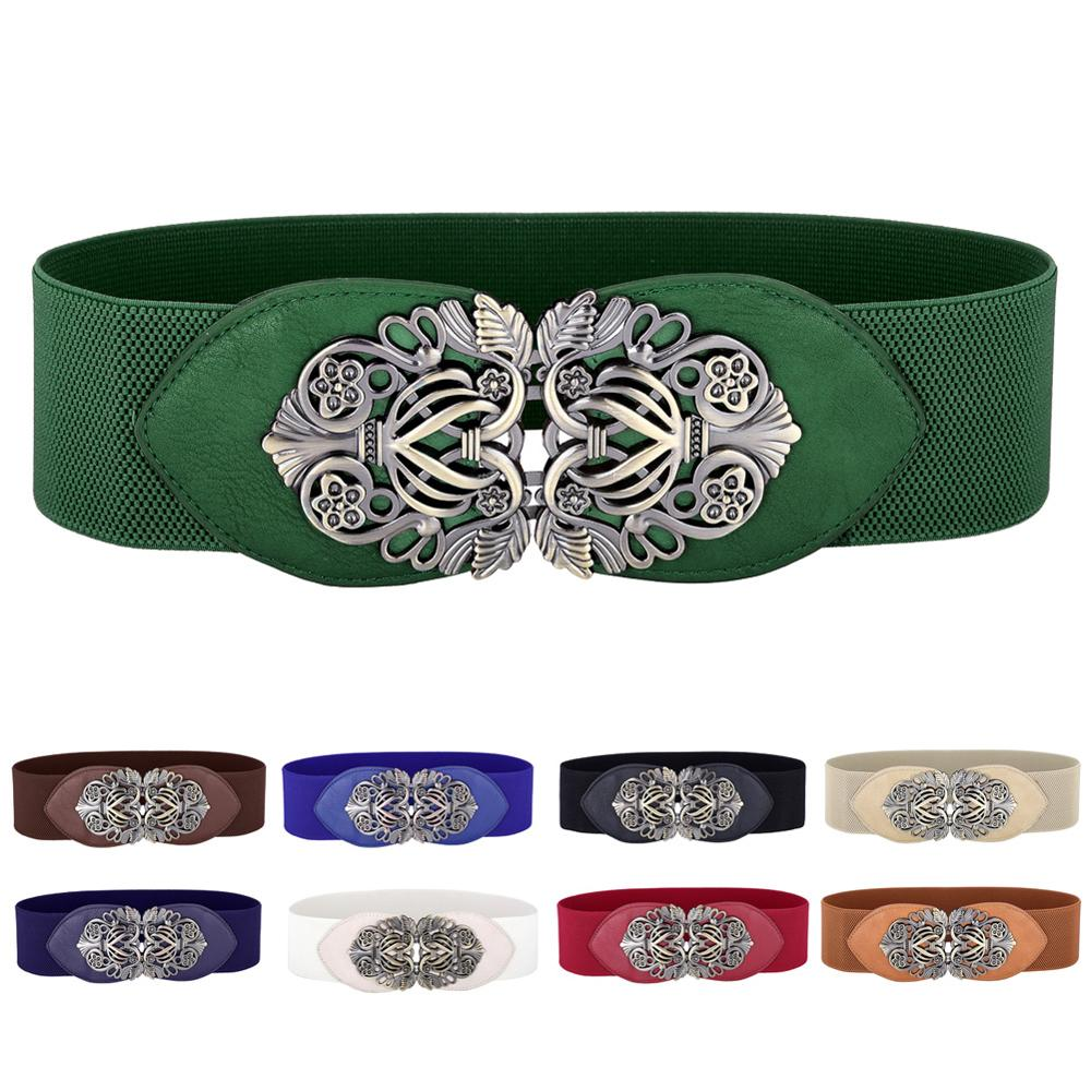 Grace Karin High Stretchy Waist Belt Vintage Retro Metal Buckle Leather Belt 2019 New Fashion Designer Waistband Women Waistbelt