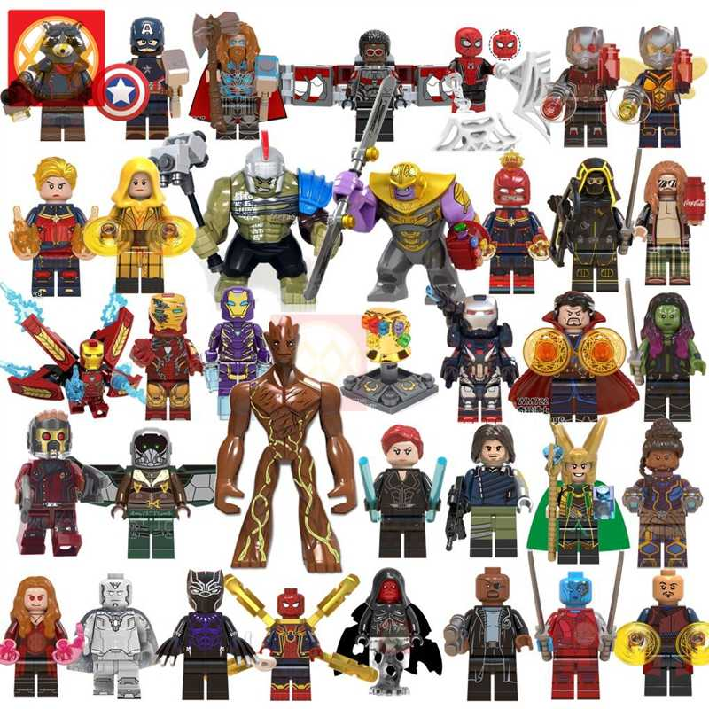 Super Hero Marvel Avengers Endgame Iron Man Thanos Thor Infinity War Machine Spiderman Captain America Hulk Building Blocks Toys