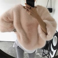 Solid Fashion Pullovers Loose Knitted Sweatshirt O Neck Elegant Women Hoodies Mujer Invierno Casual Women Clothes