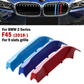 9 планок Передняя решетка для гриля в виде почек наклейка в полоску накладка на зажим для BMW 2 серии F45 F46 2018-2019 M-Спортивные декоративные детал...
