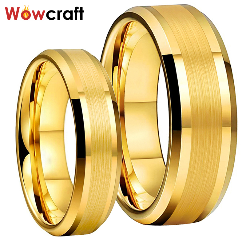 6mm 8mm Mens Womens Gold Tungsten Carbide Wedding Band Rings Beveled Edges Polished Matted Finish Comfort Fit Personal Customize 1