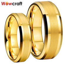Matted Wedding-Band-Rings Polished Customize Gold Tungsten Carbide Womens Personal Comfort