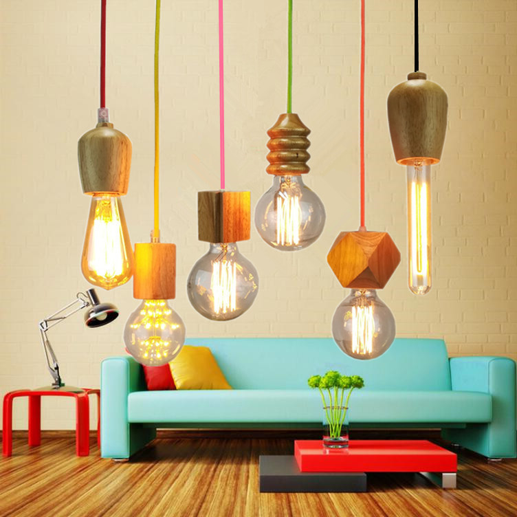 Nordic Pendant Light Woden Pendant Lamp For Home Lighting Modern Hanging Lamp Aluminum Lampshade Led Bulb Kitchen Light E27 Ing