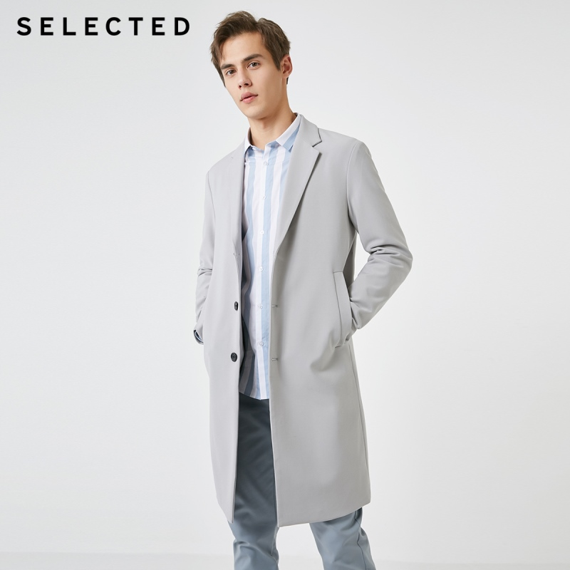 SELECTED Men's Spring Regular Fit Pure Color Mid-length Trench Coat S|4191OM531