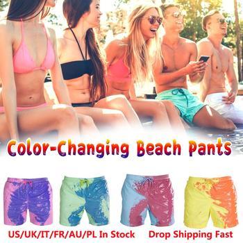 Color-changing Beach Shorts Men Quick Dry Swimwear Beach Pants Swimsuit Swim Trunks Summer Bathing Beach Wear Surf Boxer Brie