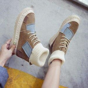 Image 5 - BIGFIRSE Sneaker kobiety mieszkania stado sznurowane buty kobiece obuwie moda Sneakers kobiety wysokie góry Lady Patcahwork Martin buty