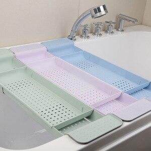 Retrátil banheira rack de armazenamento casa filtro de água cesta organizador bandeja banho prateleira ferramentas do banheiro pia cozinha dreno holde