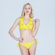 split bikini Bikini set solid color bikini sexy Push-Up bikini swimwear women swimsuit with tie  bikini high waist woman