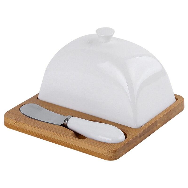 Prato de manteiga de madeira quadrado cobertura