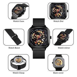 Image 4 - SKMEI Fashion Quartz Watch Men Mechanical Automatic Watches Waterproof Hollow Art Stainless Steel Strap Male Clock montre homme