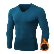 Sport T-Shirt Underwear Baselayer Fleece Running-Workout Jogging New V-Neck Winter Men