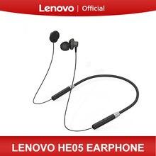 Оригинальные Bluetooth наушники Lenovo HE05, беспроводные Bluetooth наушники BT5.0, Спортивная устойчивая к поту гарнитура для телефонов Android и IOS