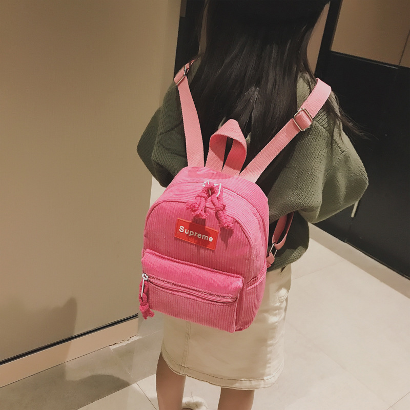 2019 New Style Korean-style Lettered Double Back Autumn & Winter Versatile Kindergarten Mini Backpack Baby Cute Suede Bag