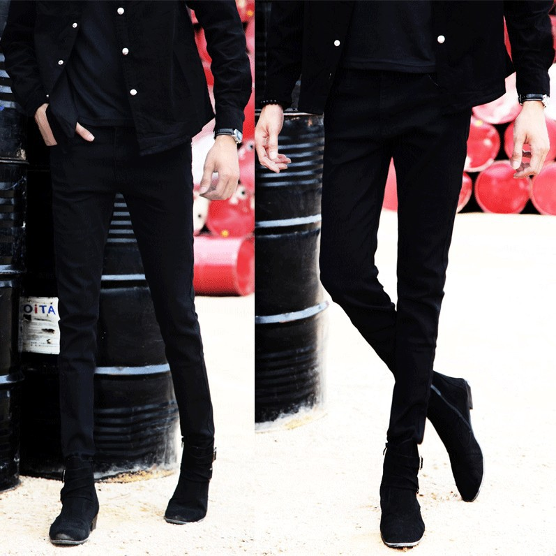 Spring And Autumn Jeans Man Skinny Slim Fit Korean-style Elasticity BOY'S Teenager Youth Long Pants