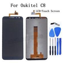 100% מבחן מקורי עבור Oukitel C8 LCD תצוגת מסך מגע digitizer החלפת אביזרים Oukitel C8 מסך lcd תצוגה